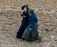 BNPS.co.uk (01202 558833)<br /> Pic: Graham Hunt/BNPS<br /> <br /> PICTURED: Mary Anning attracted attention from Hollywood with the film Ammonite. Kate Winslet and Saoirse Ronan filming a scene on the Beach at Eype near Bridport in Dorset for the 2020 film Ammonite about the life of fossil hunter Mary Anning.<br /> <br /> An incredibly rare letter written by the pioneering fossil collector Mary Anning to a close friend recounting her discoveries has been unearthed.<br /> <br /> The never-before-seen letter, that is worth £70,000, was sent by Anning to William Buckland, an geologist and palaeontologist, in 1824.<br /> <br /> It was rediscovered by Buckland's descendants stowed away amongst papers in a drawer in the family home.