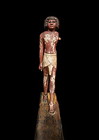 Ancient Egyptian wooden statue,  Middle Kingdom (1980-1700 BC), tomb of Shimes, Asyut. Egyptian Museum, Turin.  black background