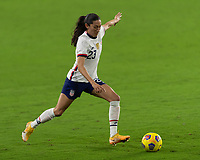 ORLANDO CITY, FL - FEBRUARY 18: Christen Press #23 prepares to take a shot during a game between Canada and USWNT at Exploria stadium on February 18, 2021 in Orlando City, Florida.