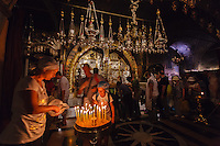 Israel,jerusalem, church of holy Sepulcher,Rock of Calvary,12th station of the Cross, Altar of the Crucifixion