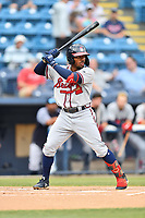 Rome Braves Justin Dean (5) awaits a pitch during a game against the Asheville Tourists at McCormick Field on July 18, 2019 in Asheville, North Carolina. The Tourists defeated the Braves 4-3. (Tony Farlow/Four Seam Images)