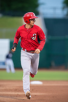 Springfield Cardinals infielder Evan Mendoza (4) jogs to third on May 18, 2019, at Arvest Ballpark in Springdale, Arkansas. (Jason Ivester/Four Seam Images)