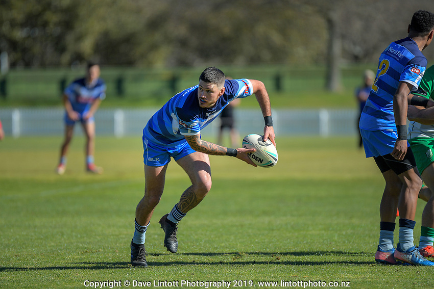 Action from the NZRL National Competition rugby league match between Manawatu Mustangs and Northern Swords at Fitzherbert Park in Palmerston North, New Zealand on Saturday, 31 August 2019. Photo: Dave Lintott / lintottphoto.co.nz