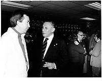 Joe Clark et Sam Berger, proprietaire des ALOUETTES de Montreal<br /> , 25 Nov 1979<br /> <br /> PHOTO : JJ Raudsepp  - Agence Quebec presse