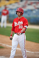 Ohio State Buckeyes designated hitter Jordan McDonough (33) at bat during a game against the Niagara University Purple Eagles on February 20, 2016 at Holman Stadium at Historic Dodgertown in Vero Beach, Florida.  Ohio State defeated Niagara 10-7.  (Mike Janes/Four Seam Images)