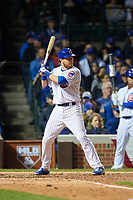 Chicago Cubs Ben Zobrist (18) bats in the eighth inning during Game 4 of the Major League Baseball World Series against the Cleveland Indians on October 29, 2016 at Wrigley Field in Chicago, Illinois.  (Mike Janes/Four Seam Images)