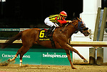 LOUISVILLE, KY - SEP 29: Mind Your Biscuits (jockey Tyler Gaffalione) wins the G3 Lukas Stakes at Churchill Downs, Louisville, Kentucky. Owner Shadai Farm, J Stables LLC, Head of Plains Partners LLC, M. Scott Summers, Daniel Summers, Chad Summers, and Michael E. Kisber; trainer Chad Summers, By Posse x Jazzmane, by Toccet. (Photo by Mary M. Meek/Eclipse Sportswire/Getty Images)