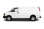 Car Driver side profile view of a 2018 GMC Savana-Cargo Work-Van-2500 4 Door Cargo Van Side View