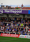 Hartlepool United 0 Sunderland 3, 20/07/2016. Victoria Park, Pre Season Friendly. Hartlepool fans in The Town End. The recently closed steel works at Redcar are in the background. Photo by Paul Thompson.