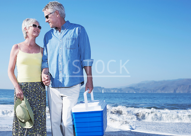 USA, California, Fairfax, Happy mature couple standing on beach