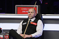 12th January 2020, Alexandra palace, London, United Kingdom; Joe Perry of England looks across the table during the round 1 match between Ding Junhui of China and Joe Perry of England at Snooker Masters 2020 at the Alexandra Palace . Perry won 6 frames to 3.LiangxXizhi