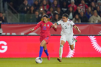 CARSON, CA - FEBRUARY 7: Christen Press #20 of the United States is marked by Jimena Lopez #5 of Mexico during a game between Mexico and USWNT at Dignity Health Sports Park on February 7, 2020 in Carson, California.