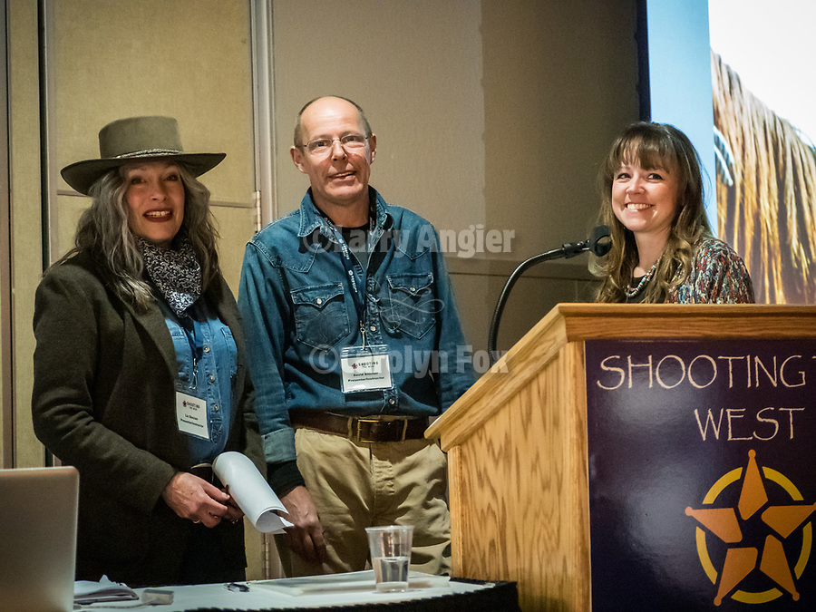 Dave and Liz Sinclair show their livestock and cowboy photography, Friday symposium at STW XXXI, Winnemucca, Nevada, April 12, 2019.<br /> .<br /> .<br /> .<br /> .<br /> @shootingthewest, @winnemuccanevada, #ShootingTheWest, @winnemuccaconventioncenter, #WinnemuccaNevada, #STWXXXI, #NevadaPhotographyExperience, #WCVA