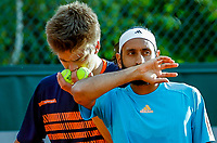Paris, France, 30 May, 2018, Tennis, French Open, Roland Garros, Men's  Doubles :  Sander Arends (NED) (L) and A. Shamasasdin (IND)<br /> Photo: Henk Koster/tennisimages.com
