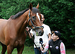 Preakness contender Mucho Macho Man concentrates on a mouthful of grass despite HRTV's attempt to interview him on Thursday morning, May 19, 2011, at Pimlico Race Course in Baltimore, MD. (Joan Fairman Kanes/EclipseSportswire)