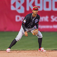 31 August 2016: Tri-City ValleyCat infielder and Baseball America top prospect Miguelangel Sierra in action against the Vermont Lake Monsters at Centennial Field in Burlington, Vermont. The Lake Monsters defeated the ValleyCats 5-3 in NY Penn League action. Mandatory Credit: Ed Wolfstein Photo *** RAW (NEF) Image File Available ***