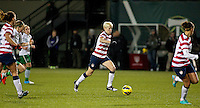 Megan Rapinoe brings the ball forward in the second half. USWNT played played a friendly against Ireland at JELD-WEN Field in Portland, Oregon on November 28, 2012.