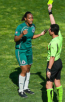 St Louis Athletica defender Kia McNeill (6) reacts after recieving a yellow card during a WPS match against the Los Angeles Sol at Hermann Stadium, in St. Louis, MO, April 25 2009.  Athletica and Sol tied the match.