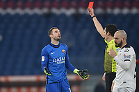 Pau Lopez of Roma and referee Davide Ghersini during the Coppa Italia final eight football match between AS Roma and AC Spezia at Olimpico stadium in Roma (Italy), Jannuary 19th, 2021. Photo Antonietta Baldassarre / Insidefoto