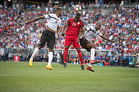 Commerce City, CO - Thursday June 08, 2017: Sheldon Bateau, Jozy Altidore, Daneil Cyrus during a 2018 FIFA World Cup Qualifying Final Round match between the men's national teams of the United States (USA) and Trinidad and Tobago (TRI) at Dick's Sporting Goods Park.