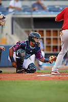 Charlotte Stone Crabs catcher David Rodriguez (13) waits to receive a pitch during a game against the Palm Beach Cardinals on April 21, 2018 at Charlotte Sports Park in Port Charlotte, Florida.  Charlotte defeated Palm Beach 5-2.  (Mike Janes/Four Seam Images)