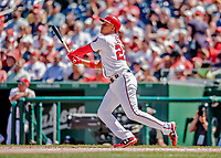 23 August 2018: Washington Nationals outfielder Juan Soto in action against the Philadelphia Phillies at Nationals Park in Washington, DC. The Phillies shut out the Nationals 2-0 to take the 3rd game of their 3-game mid-week divisional series. Mandatory Credit: Ed Wolfstein Photo *** RAW (NEF) Image File Available ***