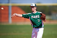 Farmingdale State Rams Nicholas Soriano (11) throws to first base during the first game of a doubleheader against the FDU-Florham Devils on March 15, 2017 at Lake Myrtle Park in Auburndale, Florida.  Farmingdale defeated FDU-Florham 6-3.  (Mike Janes/Four Seam Images)