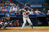 New Britain Rock Cats shortstop Zach Osborne (4) at bat in front of catcher Andrew Knapp during a game against the Reading Fightin Phils on August 7, 2015 at FirstEnergy Stadium in Reading, Pennsylvania.  Reading defeated New Britain 4-3 in ten innings.  (Mike Janes/Four Seam Images)