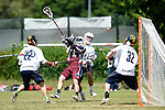 GER - Hannover, Germany, May 31: During the Men Lacrosse Playoffs 2015 match between HLC Rot-Weiss Muenchen (white) and Berliner HC (purple) on May 31, 2015 at Deutscher Hockey-Club Hannover e.V. in Hannover, Germany. Final score 12:5. (Photo by Dirk Markgraf / www.265-images.com) *** Local caption *** Maximilian Bieber #22 of HLC Rot-Weiss Muenchen, Lukas Tophoven #15 of Berliner HC, Matthias Lehna #4 of HLC Rot-Weiss Muenchen, Philipp Maas #32 of HLC Rot-Weiss Muenchen