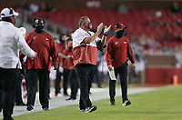 Arkansas head coach Sam Pittman claps, Saturday, November 7, 2020 during the second quarter of a football game at Donald W. Reynolds Razorback Stadium in Fayetteville. Check out nwaonline.com/201108Daily/ for today's photo gallery. <br /> (NWA Democrat-Gazette/Charlie Kaijo)