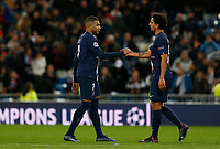 Kylian Mbappe of PSG and Marquinhos of PSG after UEFA Champions League match, groups between Real Madrid and Paris Saint Germain at Santiago Bernabeu Stadium in Madrid, Spain. November, Tuesday 26, 2019.(ALTERPHOTOS/Manu R.B.)<br /> Champions League 2019/2020  <br /> Real Madrid - PSG Paris Saint Germain <br /> Foto Alterphotos / Insidefoto <br /> ITALY ONLY
