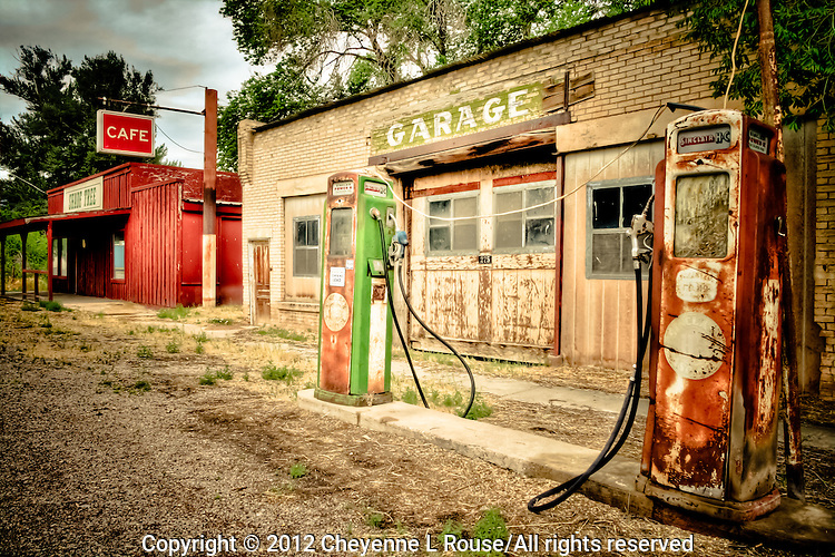"""""""Let's Stop for Gas and a Quick Bite to Eat - Utah Old Sinclair Gas Station wtih pumps"""