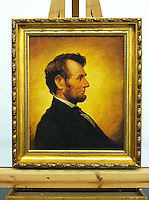 """Framed Digital Reproduction of Abraham Lincoln (1809-1865)16th US President. FRAMED SIZE 31"""" x 27"""" Stretcher Size: 24"""" x 20"""" <br /> Framed Digital Reproduction is in LA, CA<br /> <br /> Abraham Lincoln (1809-1865)16th US President. 1864 by William Willard (1819-1904)Oil on canvas. 61 x 45.5 cm (24"""" x 17 15/16"""")."""