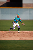 Alexander Aguila (2) of Mater Academy in Hialeah, Florida during the Baseball Factory All-America Pre-Season Tournament, powered by Under Armour, on January 13, 2018 at Sloan Park Complex in Mesa, Arizona.  (Mike Janes/Four Seam Images)