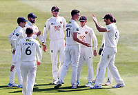 Nathan Gilchrist of Kent is congratulated by Grant Stewart after bowling Joe Leach during Kent CCC vs Worcestershire CCC, LV Insurance County Championship Division 3 Cricket at The Spitfire Ground on 5th September 2021