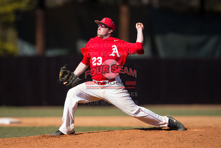 Belmont Abbey Crusaders relief pitcher Brandon O'Sullivan (23) in action against the Shippensburg Raiders at Abbey Yard on February 8, 2015 in Belmont, North Carolina.  The Raiders defeated the Crusaders 14-0.  (Brian Westerholt/Four Seam Images)
