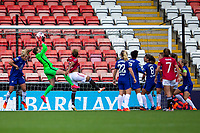 6th September 2020; Leigh Sports Village, Lancashire, England; Women's English Super League, Manchester United Women versus Chelsea Women; Goalkeeper Carly Telford of Chelsea Women makes a save