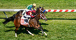 May 15, 2021: Firecrow, #11, ridden by Joel Rosario, wins the Jim McKay Turf Sprint on Preakness Stakes Day at Pimlico Race Course in Baltimore, Maryland. John Voorhees/Eclipse Sportswire/CSM