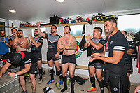 Celebrations in the changing rooms after London Broncos secure a top 4 spot after victory in the Kingstone Press Championship match between London Broncos and Sheffield Eagles at Castle Bar , West Ealing , England  on 9 July 2017. Photo by David Horn.