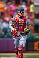 Reading Fightin Phils catcher Joel Fisher (13) during a game against the Erie SeaWolves on May 18, 2017 at UPMC Park in Erie, Pennsylvania.  Reading defeated Erie 8-3.  (Mike Janes/Four Seam Images)