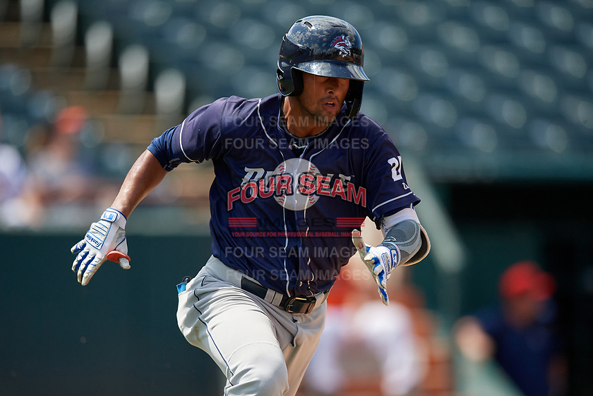 Binghamton Rumble Ponies Luis Carpio (21) runs to first base during an Eastern League game against the Bowie Baysox on August 21, 2019 at Prince George's Stadium in Bowie, Maryland.  Bowie defeated Binghamton 7-6 in ten innings.  (Mike Janes/Four Seam Images)