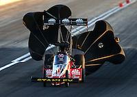 Mar 28, 2014; Las Vegas, NV, USA; NHRA top fuel dragster driver Doug Kalitta during qualifying for the Summitracing.com Nationals at The Strip at Las Vegas Motor Speedway. Mandatory Credit: Mark J. Rebilas-