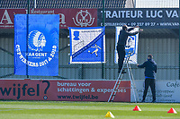 hanging flags pictured before a female soccer game between  AA Gent Ladies and RSC Anderlecht on the 17th matchday of the 2020 - 2021 season of Belgian Scooore Womens Super League , saturday 20 th of March 2021 in Oostakker , Belgium . PHOTO SPORTPIX.BE | SPP | STIJN AUDOOREN