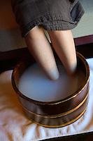 Hoshinoya Karuizawa luxury resort at the foot of Mt. Asam. Sake massage and soak