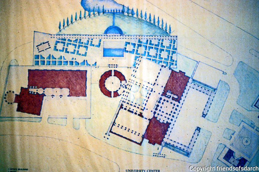 """Michael Graves: Plan of """"Aventine"""". The hotel is to the right."""