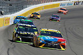 #18: Kyle Busch, Joe Gibbs Racing, Toyota Camry M&M's and #48: Jimmie Johnson, Hendrick Motorsports, Chevrolet Camaro Lowe's for Pros