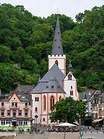 Stiftskirche, St. Goarshausen, Rheinland-Pfalz, Deutschland, Europa, UNESCO Weltkulturerbe<br /> Stiftskirche, St. Goarshausen, Rhineland-Palatinate, Germany, Europe