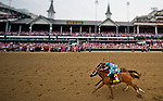 LOUISVILLE, KY - MAY 04: Monomoy Girl #14, ridden by jockey Florent Geroux, out duels Wonder Gadot #5, ridden by jockey John Velasquez, to win the Longines Kentucky Oaks at Churchill Downs on May 4, 2018 in Louisville, Kentucky. the Kentucky Oaks at Churchill Downs on May 4, 2018 in Louisville, Kentucky. (Photo by Scott Serio/Eclipse Sportswire/Getty Images)