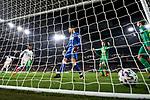 Rodrygo Goes of Real Madrid scores goal and Alex Remiro of Real Sociedad during La Liga match between Real Madrid and Real Sociedad at Santiago Bernabeu Stadium in Madrid, Spain. February 06, 2020. (ALTERPHOTOS/A. Perez Meca)