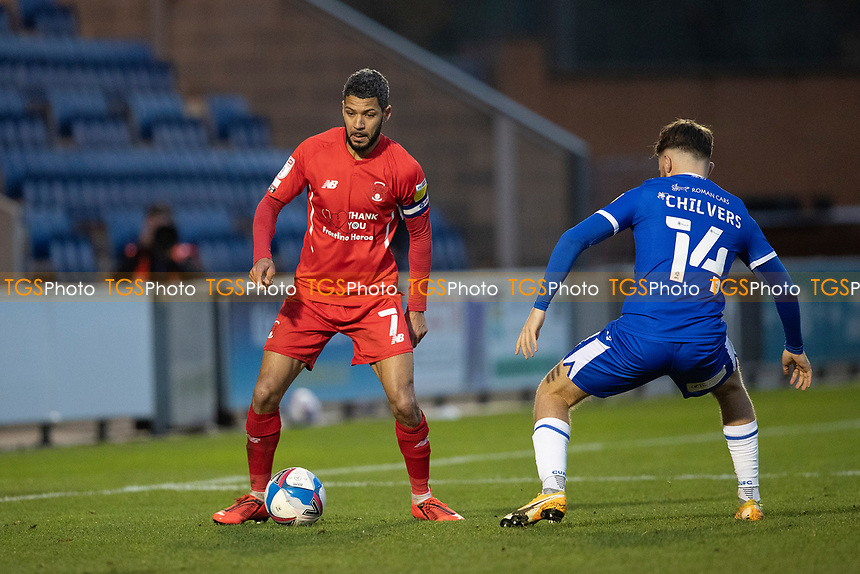 Jobi McAnuff, Leyton Orient route blocked off by Noah Chilvers, Colchester United during Colchester United vs Leyton Orient, Sky Bet EFL League 2 Football at the JobServe Community Stadium on 14th November 2020